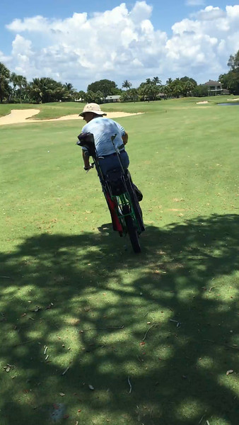 New golf bike at the North Palm Beach Country Club. Expertly driven by member Rich Pizzolato.