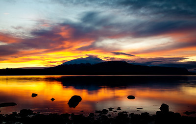 Beautiful sunset on the first day in Patagonia