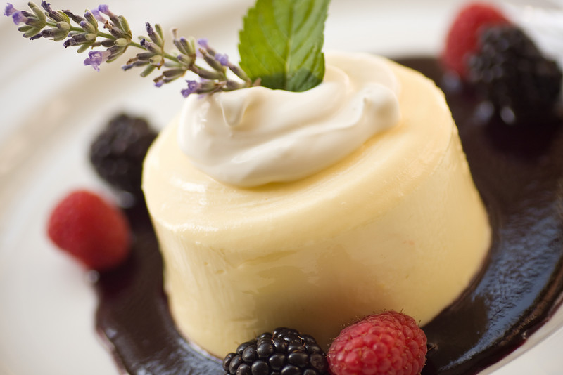 Carolina Crossroads: Frozen Lemon Mousse with Creme Fraiche and Blueberry Sauce.