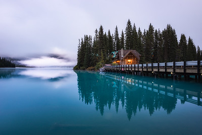 The perfect calm during early morning at Emerald Lake, Yoho - Canadian Rockies