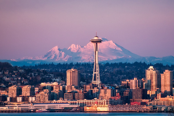 Mt Baker lined up with Seattle's Space Needle - Washington