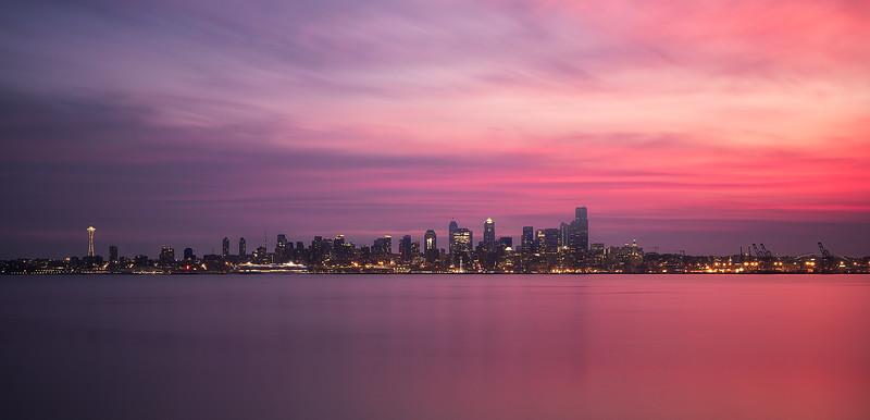 A smokey sunrise over the Seattle skyline - Washington