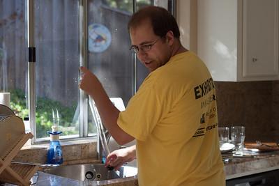 Mike preparing to keg a homebrew