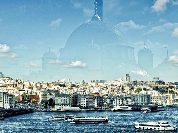 The Golden Horn with a reflection of the New Mosque (Yeni Camii)