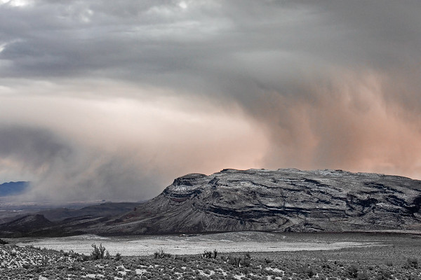A snowstorm in the high elevation desert at Red Rock Canyon in Nevada.