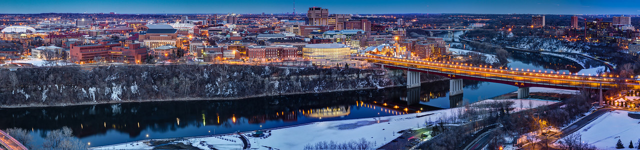 University of Minnesota - East Bank Campus.  This panorama of the U of M spans the Mississippi riverfront from Dinkytown to the Washington Avenue bridge.  The Weisman Museum and TCF Bank Stadium are just two of the many buildings highlighted in this twilight capture.