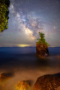Sea Stack Under a Starry Sky