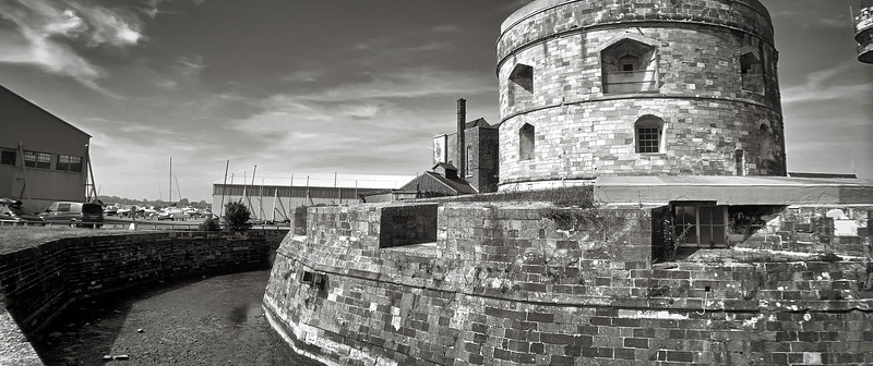 Calshot Castle in its moat