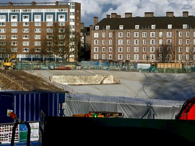 Concrete pit on te site of the old Chelsea Barracks