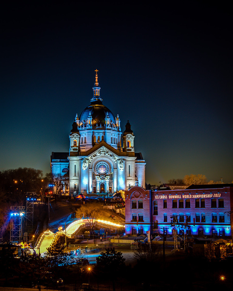 The Cathedral of St. Paul presides over the 2013 Ice Cross Downhill World Championship