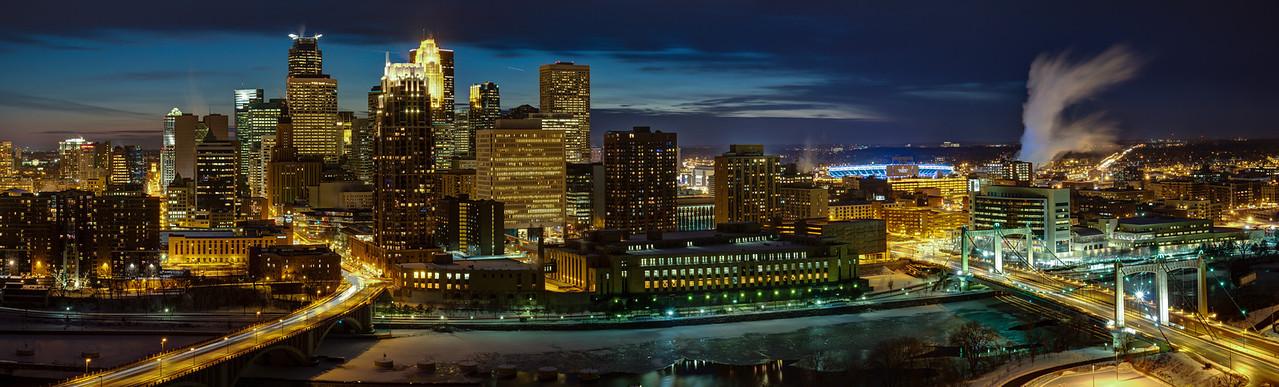 Minneapolis Skyline at Night - From 3rd Avenue Bridge to Hennepin Avenue Bridge