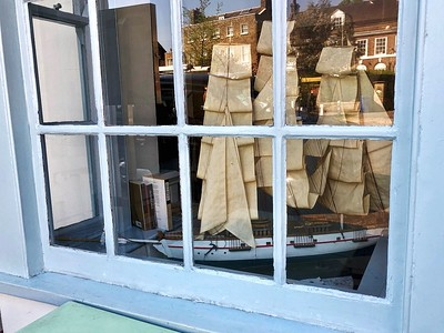 Sailing ship model in a restaurant window in Dulwich Village