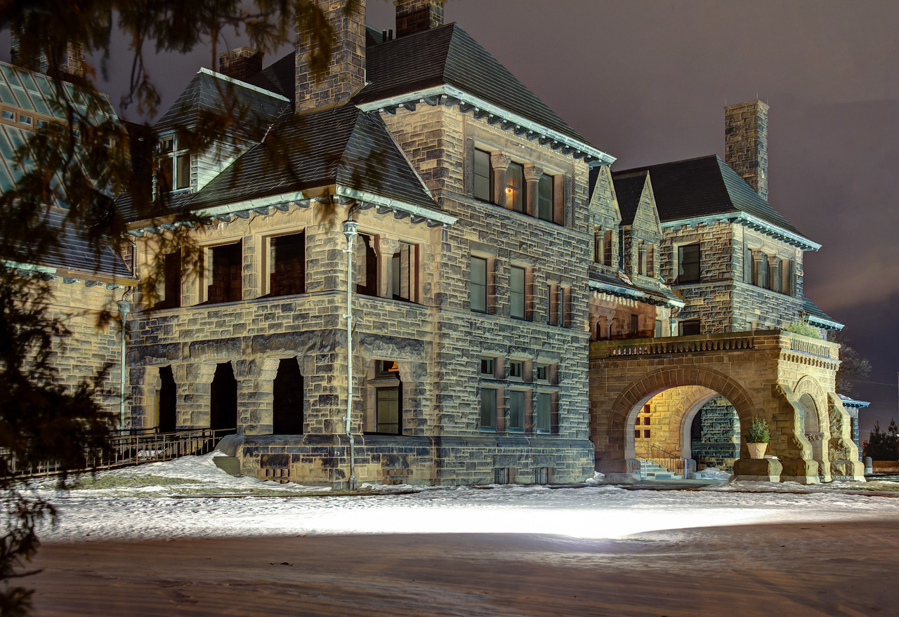 The James J Hill Mansion on Summit Avenue in St. Paul as captured on a cold winter's night.