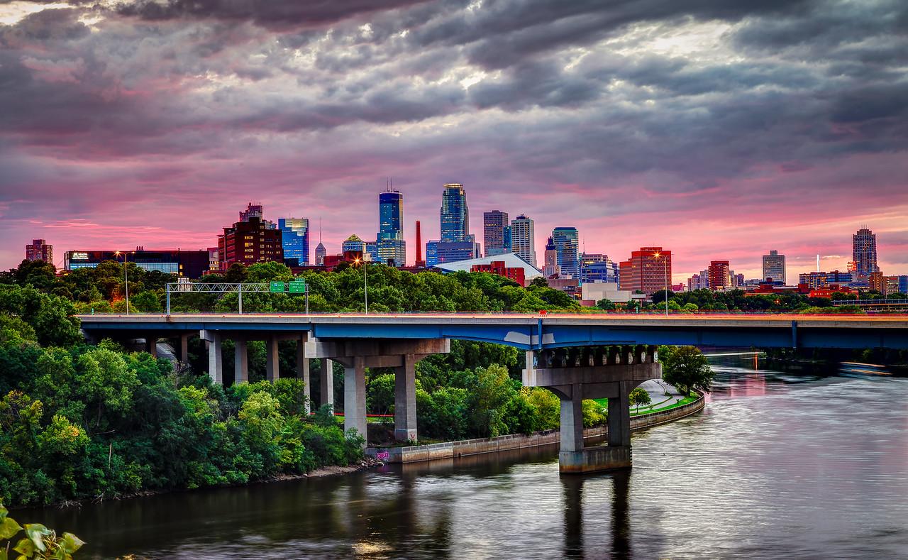 Pink Sky Above a Silver City