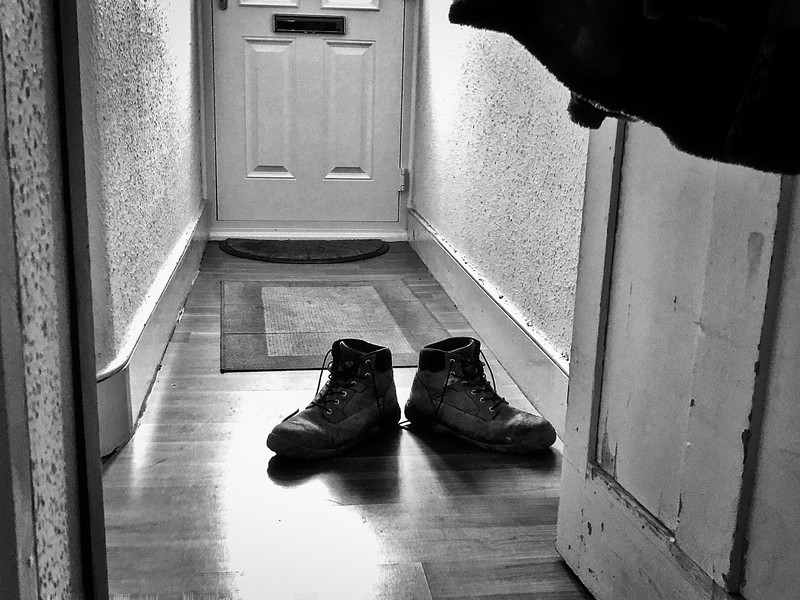 Builder's boots left in the hall