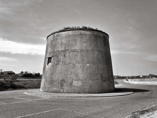 Martello tower in a car park at Dymchurch, Kent