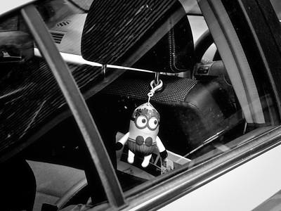 Minion in a car
