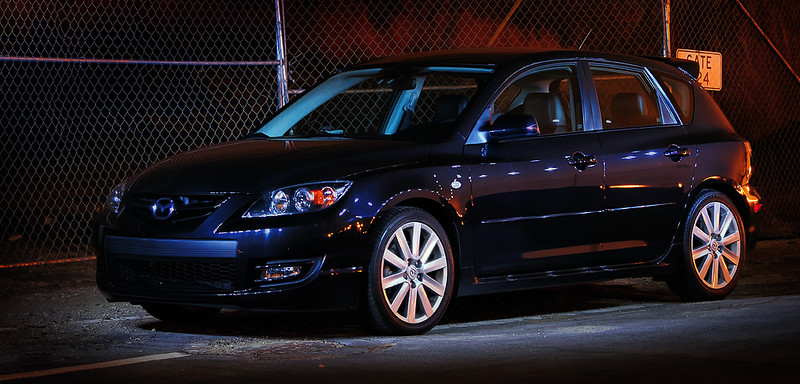 2008 Mazdaspeed3 <br /> My first attempt at single strobe, multiple flash, long exposure, night photography.
