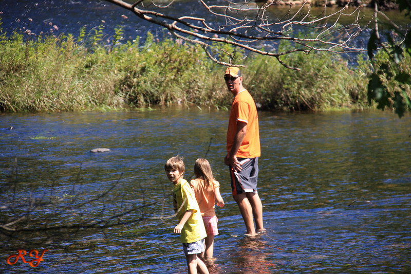 Bald Mountain Campground; watch out, there is a 'crockfish' in the river