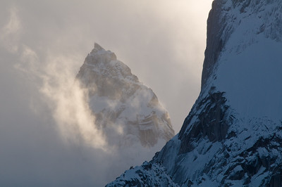 Pigeon Spire poking through mist, Bugaboos