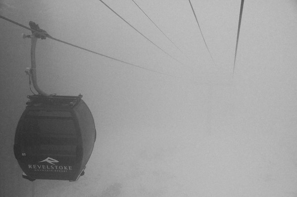 Gondola in fog at Revelstoke Mountain Resort