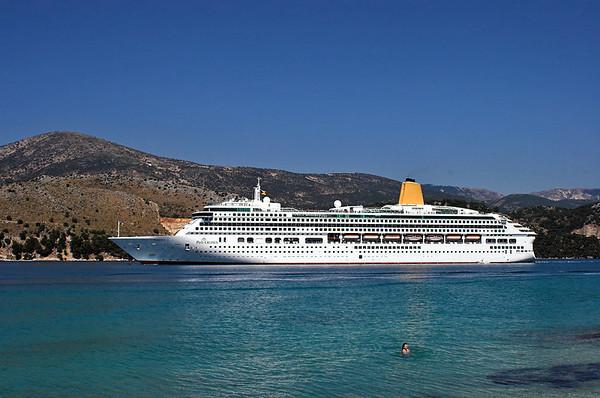 Cruise Ship 'Aurora' departing Argostoli, Kefalonia 13/6/2012