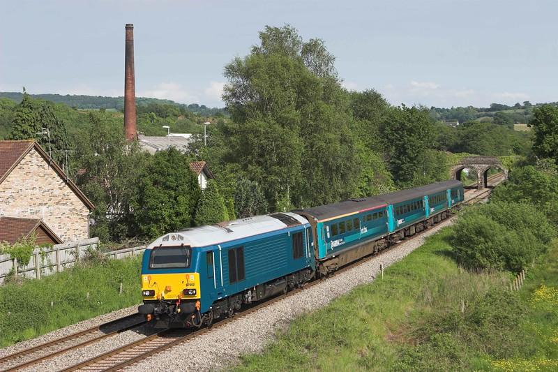 67002 Ponthir 29/5/2012<br /> 1W91 1615 Cardiff Central-Holyhead