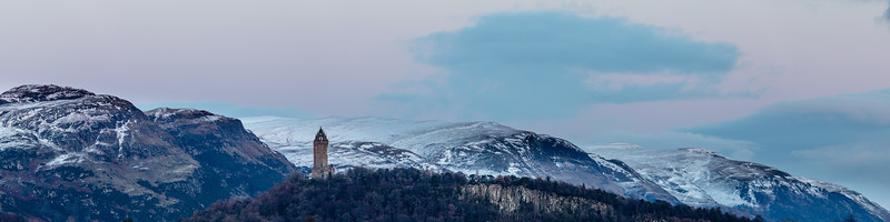 Dusk over the Wallace Monument and the Ochils