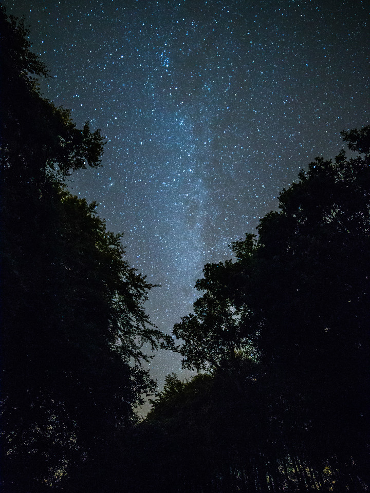 Doune Castle grounds, clear night.