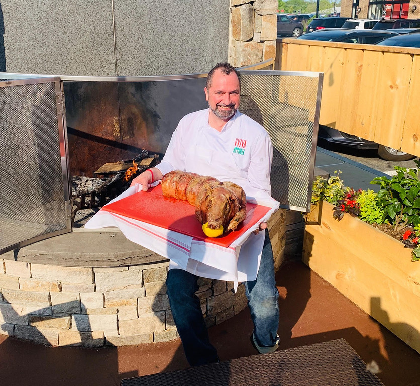 . Chef Anthony goes whole hog on the patio.