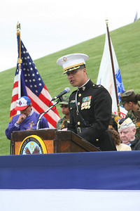 At the 32nd annual Memorial Day observance at Golden gate National Cemetery in San Bruno, HQ Co. Commanding Officer Major Ted Wong speaks to the crowd on hand. The event was organized by, ÒThe Avenue of Flags CommitteeÓ.  It is a none-profit organization that survives on donations from private individuals. Over 400 people were in attendance and among them were current and former military, dignitaries, family and friends of service members.