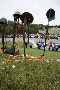 The 32nd annual Memorial Day observance at Golden gate National Cemetery in San Bruno was organized by, ÒThe Avenue of Flags CommitteeÓ.  It is a none-profit organization that survives on donations from private individuals. Over 400 people were in attendance and among them were current and former military, dignitaries, family and friends of service members.