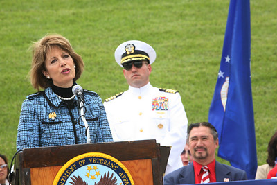 Congresswoman Jackie Speier speaks at the 32nd annual Memorial Day observance at Golden gate National Cemetery in San Bruno which was organized by, ÒThe Avenue of Flags CommitteeÓ.  It is a none-profit organization that survives on donations from private individuals. Over 400 people were in attendance and among them were current and former military, dignitaries, family and friends of service members.