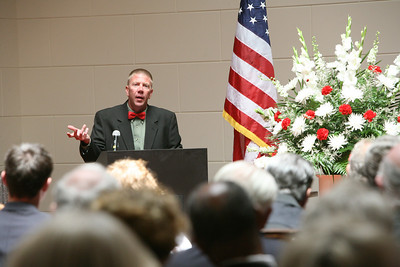 Son Earl Jr., speaks during the Funeral services for former San Mateo County Sheriff Earl Benjamin Whitmore were held in Courtroom A at the San Mateo County History Museum in Redwood City.  150 family, friends, colleagues and officers were present to pay their respects.  20 members of the SheriffÕs honor guard led by Bob Lewetzon folded and presented the American Flag to wife Beverly Whitmore.  Born on March 1, 1918, Earl died on May 21, 2008 and served as County Sheriff from 1951-1973.