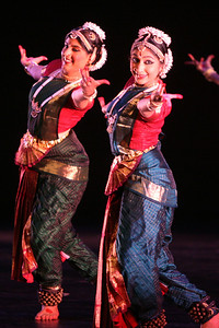 """Abinaya Dance Company from San Jose performe an indian classical dance in the bharatanatyam style called, """"Shakti"""". The Ethnic Dance Festival began its 1st weekend in celebration of its 30th anniversary at the Palace of Fine Arts Theater in San Francisco.  A total of four weekends which present 36 different ethnic dance ensembles representing cultures from all over the world.  World Arts West whose mission is to promote cultural understanding and to promote a universal appreciation of diverse dance traditions throughout the world presents the event."""