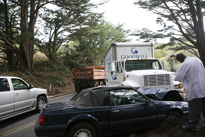 At about 11:50am Jim Loftus was driving his 1991 Ford Mustang East Bound from Half Moon Bay when a Goodwill truck, which lost control coming in the opposite direction, stuck him. Jim sustained minor injuries to his right hand and knees while being hit in the face by the airbag deployment.  The accident caused congestion on the two-lane highway for about 1.5 hours.