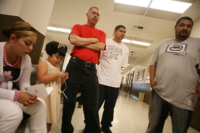The Delgado Family outside the Redwood City court Room.  They were relieved with the verdict of misdemeanor, which is what they sought. From left to right, Angelica Delgado, Linse Delgado (not sure of spelling), Jose Delgado (father), Jose Delgado Jr., Juan Delgado