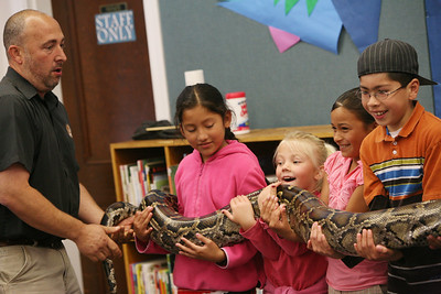 "Gabe and Barbi Kerschner allow children to hold, ""Miss Piggy"" the Python at the SSF Down Town Library. Wild things Inc. visited the library with six different wild animals for children and grown ups to see. The organization, which has over 60 species of wildlife, takes in animals that have been rescued from stress situations and for one reason or another cannot return to the wild.  The organization uses these animals to instruct young and old alike about living harmoniously with natureÕs habitat."