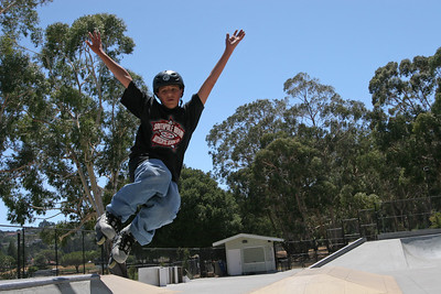 "Nasri Mufarreh age 13, of Millbrae practices his jumps at YMCA«s ""My Skate Park"" in Millbrae.  The YMCA is losing money on operations for the skate park in Millbrae. Millbrae and Burlingame, among other groups, are considering paying for more of the day-to-day cost to keep it up and running."