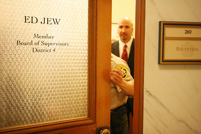 At SF City Hall, members of the F.B.I. leave Supervisor Ed Jew«s office after having gathered possible  evidence.
