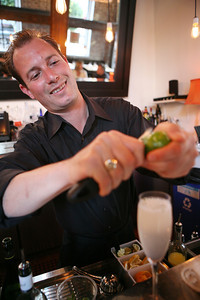 Gabriel Cothes prepares an Old Cubano at the Salt House in San Francisco.
