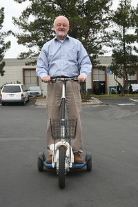 San Carlos Mayor Tom Davids test drives a Zappy 3 at Zap Car showroom in San Carlos. San Carlos opens its Zap Car showroom on Industrial Road, hailing more changes along the old corridor that many in the city would like to transform into something more hip and shopper-friendly.