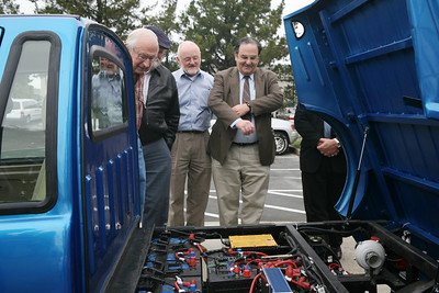 From left to right, Paul Hocking, John Hoffmann candidate for city council, San Carlos Mayor Tom Davids, Brian A. Maura and Bob Grassilli check out the batteries on a Zip car pickup.  San Carlos opens its Zap Car showroom on Industrial Road, hailing more changes along the old corridor that many in the city would like to transform into something more hip and shopper-friendly.