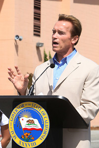 At Sequoia High School in Redwood City, Gov. Arnold Schwarzenegger addresses the media before signing a bill from State Assembly man for Redwood City Joe Simitian which forbids teens from using cell phones and other electronic devices while driving.