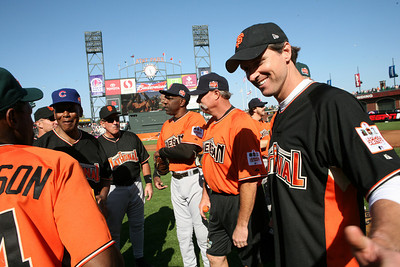 Gavin Newsom mingles with celebs after the game.