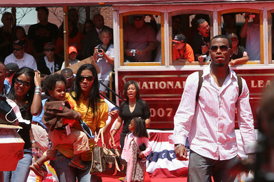 Jose Reyes of the New York Mets walks into AT&T park on the red carpet during the parade entrance for the players on the day of the All Star game.