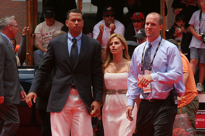 Alex Rodriguez of the New York Yankees  walks into AT&T park on the red carpet during the parade entrance for the players on the day of the All Star game.
