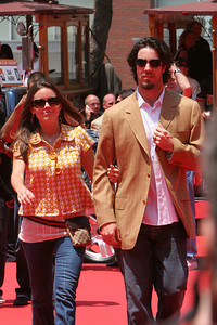 Dan Haren of the Oakland Athletics walks into AT&T park on the red carpet during the parade entrance for the players on the day of the All Star game.