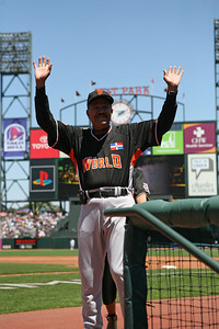 Juan Marichal waves hello to the crowd.