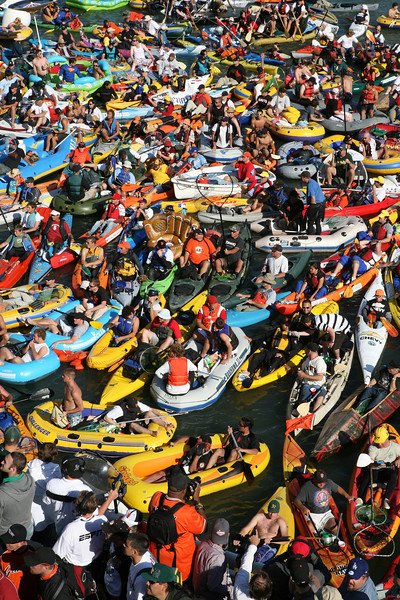 Hundreds of People Flood McCovey Cove in hopes of catching a fly ball that lands in the water.  Many though were just there too clown around on camera!